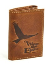 Genuine Leather Wallet Isaiah 40:31, Brown