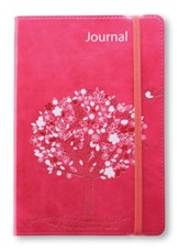 Your Roots Will Grow Lux-Leather Journal, Pink, Tree