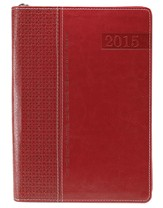 2015 Lux-Leather Executive Engagement Planner,  Red, Zippered