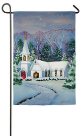 Christmas Eve, Church In the Snow Flag, Small