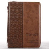 Trust Proverbs 3:5 Bible Cover, Brown, Large
