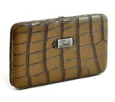 Croc Embossed Clutch Wallet, Faith, Khaki