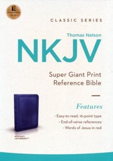 NKJV Super Giant Print Reference Bible, Leathersoft, Rich Navy--indexed