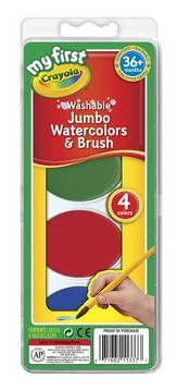 Crayola, My First Crayola, Washable Jumbo Watercolors and Brush