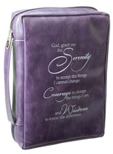 Serenity Prayer Bible Cover, Purple, Large