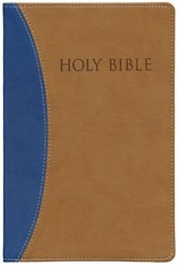 KJVer (Easy Reader) Large Print Thinline Bible, Ultrasoft Blue/Tan, Thumb Indexed