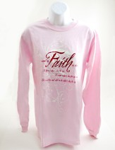 Rooted in Faith, Long Sleeve Tee, Pink, Small (36-38)