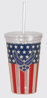 Air Force, Flag Tumbler, with Straw