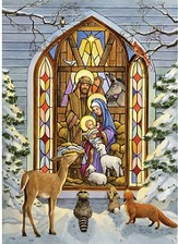 Stained Glass Nativity,  15 Boxed Christmas Cards