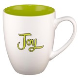 Joy Stoneware Mug, White and Green