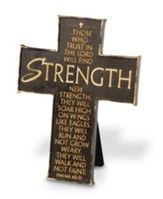 Those Who Trust in the Lord Will Find Strength--Cast Stone Cross