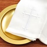 Bread Plate Napkin, 100% Linen with Latin Cross