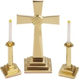 Solid Brass 3-Piece Miniature Altar Set, Contemporary