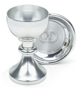 Silvertone Wedding Chalice Set