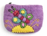 Felt Zippered Coin Purse, Butterfly, Fair Trade Product