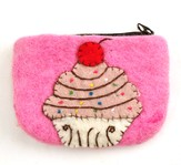 Felt Zippered Coin Purse, Cupcake, Fair Trade Product