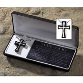 Man of God Flare Cross Necklace, Black