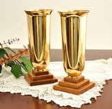 Solid Oak & Brass Vases (Set of 2)