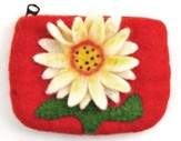 Felt Zippered Coin Purse, Sunflower, Fair Trade Product