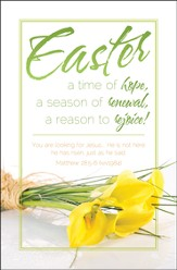 Easter Time of Hope (Matthew 28:5-6, NIV) Bulletins, 100