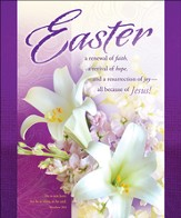 Easter - Purple with Lilies (Matthew 28:6) Large Bulletins, 100