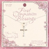 First Communion Blessings, Etched Bud Cross Necklace