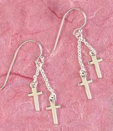 First Communion, Box Cross Drops Earrings