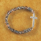 Sideways Cross Stretch Bracelet/Black and Silver