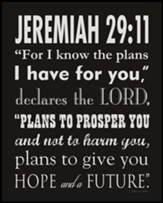 Jeremiah 29:11, Black & White Scripture Art