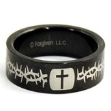 Cross and Thorns Ring, Black, Size 11