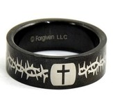 Cross and Thorns Ring, Black, Size 9