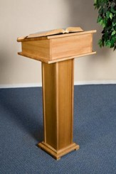 Lectern with Shelf, Hardwood Maple with Pecan Finish