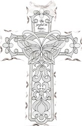 Be Joyful in Hope Butterfly Glass Cross Suncatcher
