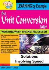Unit Conversion Tutor: Solutions Involving Speed DVD