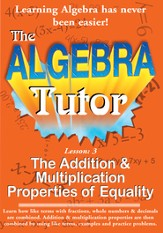 Algebra Math Tutor: Addition & Multiplication DVD