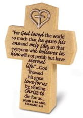 For God So Loved Cross with Heart