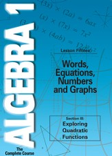 Algebra 1 - The Complete Course: Words, Equations, Numbers and Graphs DVD