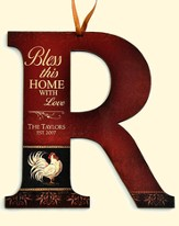 Personalized, Bless This Home Hanging Letter R, Rooster