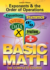 Basic Math Series: Exponents & the Order of Operations DVD