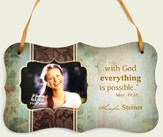 Personalized, With God Everything Is Possible, Hanging Photo Plaque, Green