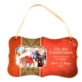 Personalized, Our First Christmas, Hanging Photo Plaque, Red