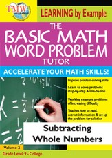 Basic Math Word Problem Tutor: Subtracting Whole Numbers DVD