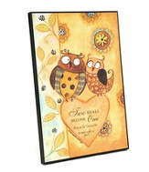 Personalized, Framed Art, Two Owls, Two Shall Become   One
