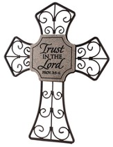 Trust in the Lord--Curled Metal Cross