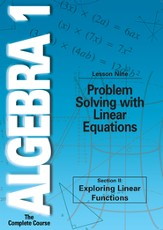 Algebra 1 - The Complete Course: Problem Solving with Linear Equations DVD