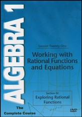 Algebra 1 - The Complete Course: Working with Rational Functions and Equations DVD