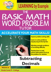 Basic Math Word Problem Tutor: Subtracting Decimals DVD