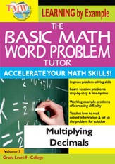 Basic Math Word Problem Tutor: Multiplying Decimals DVD