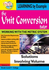 Unit Conversion Tutor: Solutions Involving Volume DVD