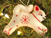 Snowflake Cat Ornament, White, Fair Trade Product